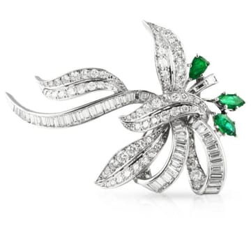 Diamond And Emerald Platinum Brooch Pin