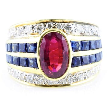 RUBELLITE DIAMOND AND SAPPHIRE 18K YELLOW GOLD RING
