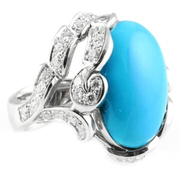 TURQUOISE AND DIAMOND 18K WHITE GOLD RING