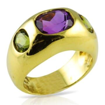 PERIDOT AND AMETHYST 18K YELLOW GOLD RING