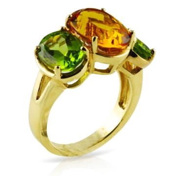 CITRINE AND PERIDOT 18K YELLOW GOLD RING