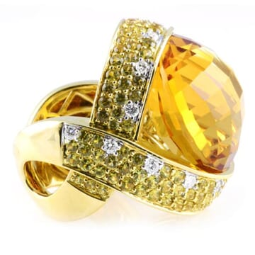 CITRINE DIAMOND AND SAPPHIRE 18K YELLOW GOLD RING