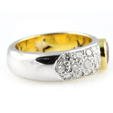 DIAMOND AND RUBY 18K TWO-TONE GOLD RING
