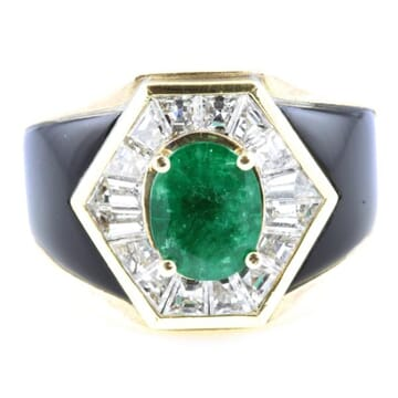 DIAMOND AND EMERALD 18K YELLOW GOLD AND ONYX RING