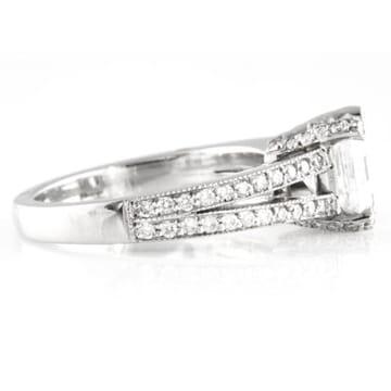 1.62 Carat Asscher Cut Diamond Platinum Engagement Ring