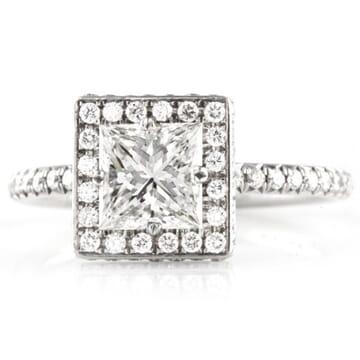 1.03 ct Princess Cut Diamond Platinum Engagement Ring