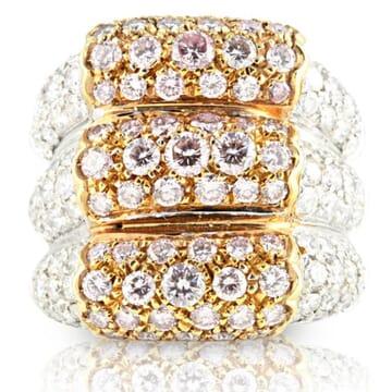 PINK AND WHITE DIAMOND 18K GOLD RING