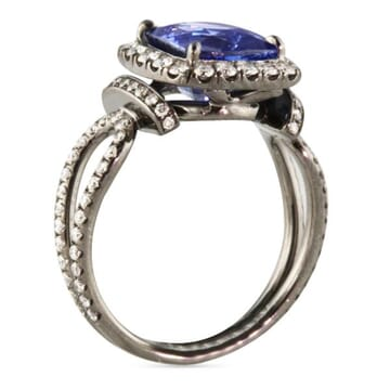 3.28 ct Sapphire and Diamond Black Rhodium Platinum Engagement Ring