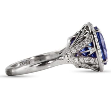 6.63 ct Sapphire Platinum Engagement Ring
