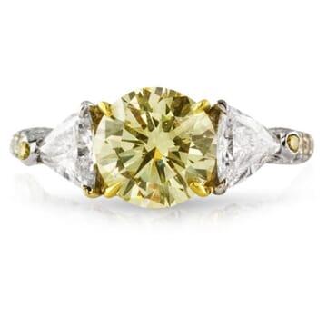 1.81 ct Fancy Yellow Round Diamond Platinum and Gold Engagement Ring