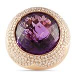 DIAMOND AND AMETHYST 18K ROSE GOLD RING
