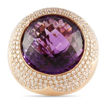 DIAMOND AND AMETHYST 18K ROSE GOLD RING