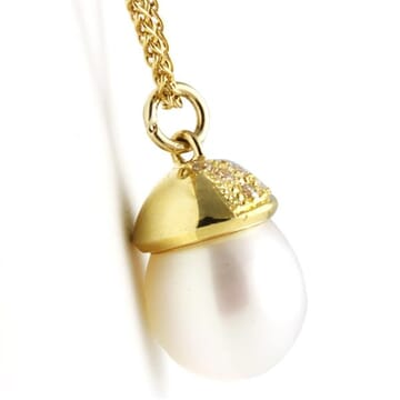 SOUTH SEA PEARL AND DIAMOND 18K YELLOW GOLD PENDANT NECKLACE