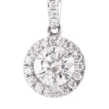 Round Diamond Halo Pendant Necklace