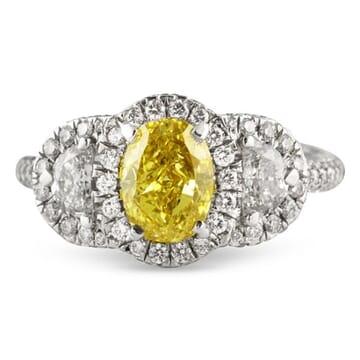 1.11 ct Fancy Yellow Oval Shape Diamond Platinum Engagement Ring