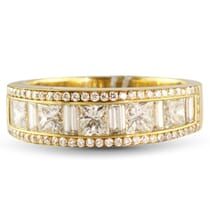 2.50 CT BAGUETTE, PRINCESS AND ROUND DIAMOND YELLOW GOLD BAND