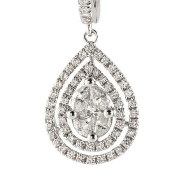 DIAMOND 14K WHITE GOLD DANGLE EARRINGS