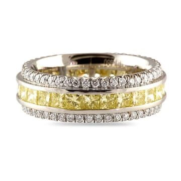 5.25 CT FANCY YELLOW AND WHITE DIAMOND PLATINUM ETERNITY BAND