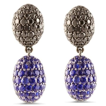 DIAMOND AND SAPPHIRE 18K BLACKENED GOLD EARRINGS