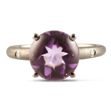 AMETHYST AND DIAMOND 18K BLACKED GOLD RING