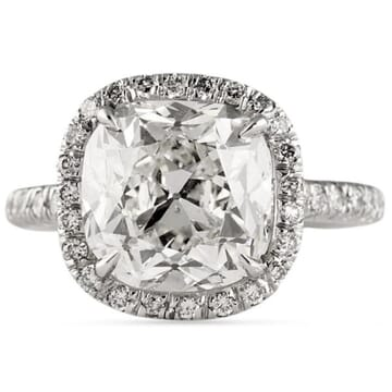 5.05 ct Antique Cushion Diamond Platinum Engagement Ring