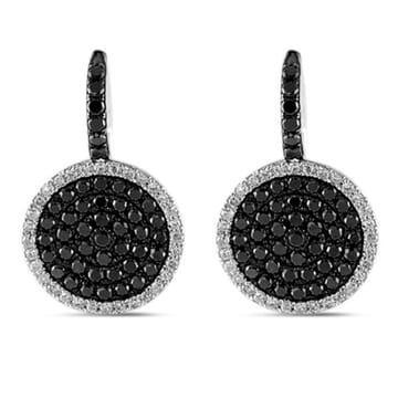 BLACK AND WHITE DIAMOND 14K WHITE GOLD DANGLE EARRINGS