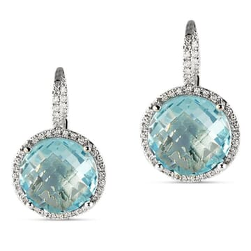 TOPAZ AND DIAMOND 14K WHITE GOLD DROP EARRINGS