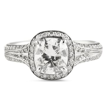 1.63 ct Cushion Cut Diamond Platinum Engagement Ring