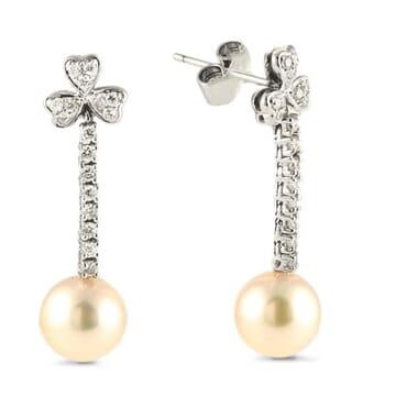 PEARL AND DIAMOND 18K WHITE GOLD DANGLE EARRINGS
