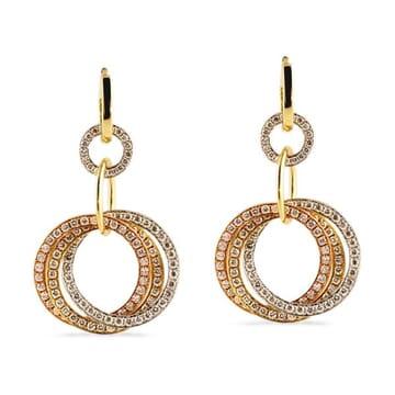 DIAMOND 18K TRI-COLORED GOLD DANGLING EARRINGS
