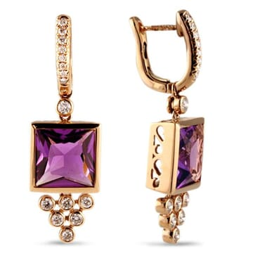 DIAMOND AND AMETHYST 18K ROSE GOLD EARRINGS