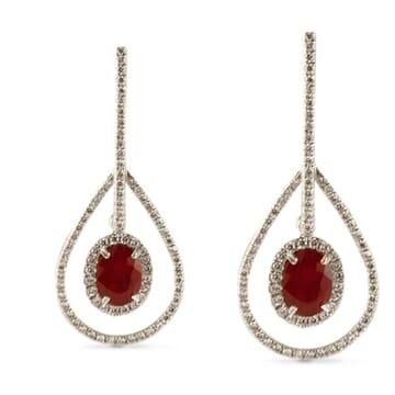 RUBY AND DIAMOND PLATINUM EARRINGS