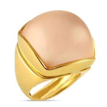EVA NUEVA ROSE QUARTZ 18K YELLOW GOLD RING