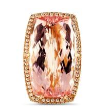 Morganite and Diamond 18K Rose Gold and Platinum Ring