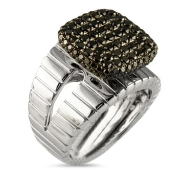 BLACK DIAMOND 18K WHITE GOLD RING