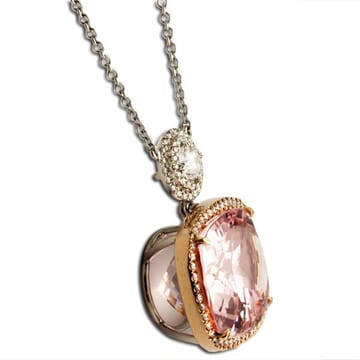 MORGANITE AND DIAMOND 18K ROSE GOLD AND PLATINUM NECKLACE