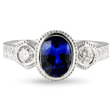 Sapphire and Diamond 14K White Gold Ring