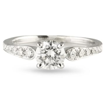 .75 ct Round Diamond 18K White Gold Engagement Ring