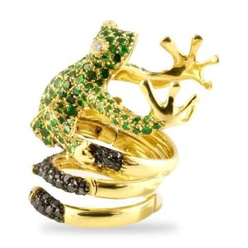 TSAVORITE AND BLACK DIAMOND 18K YELLOW GOLD RING