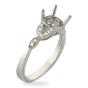 DIAMOND 18K WHITE GOLD ENGAGEMENT RING SETTING