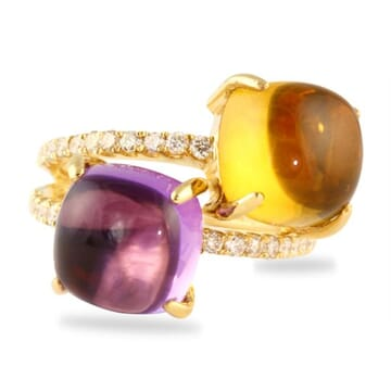 AMETHYST CITRINE AND DIAMOND 18K YELLOW GOLD RING