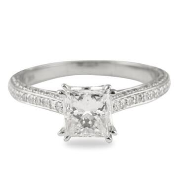 1.11 ct Princess Cut Diamond White Gold Engagement Ring