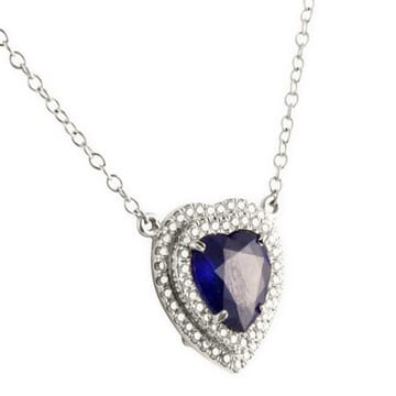 HEART SHAPE SAPPHIRE AND DIAMOND PLATINUM PENDANT NECKLACE