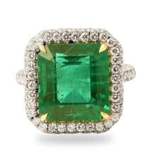 10.32 ct Emerald and Diamond Platinum Ring