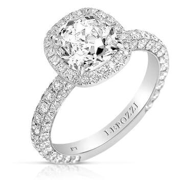 2.06 ct Antique Cushion Diamond Platinum Engagement Ring