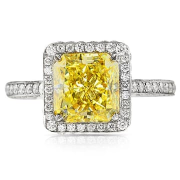 3.00 ct Radiant Cut Fancy Yellow Diamond Ring