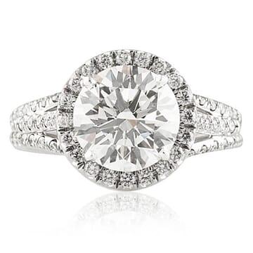 2.11 CT ROUND DIAMOND PLATINUM ENGAGEMENT RING