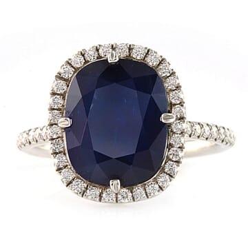 4.20 ct Sapphire and Diamond Black Rhodium Platinum Engagement Ring