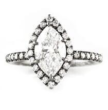 1.58 Carat Marquise Diamond Black Rhodium And Platinum Engagement Ring