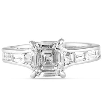 1.21 ct Asscher Cut Diamond Platinum Engagement Ring
